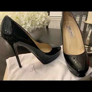 "Black Patent Jimmy Choo ""Cosmic"" Pumps"
